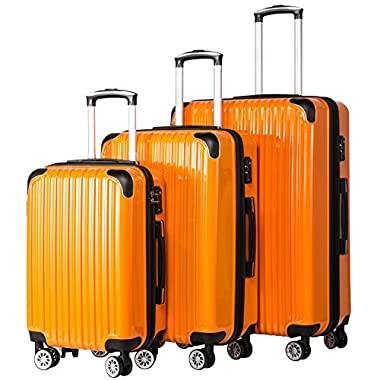 Coolife Luggage Expandable 3 Piece Sets PC+ABS...