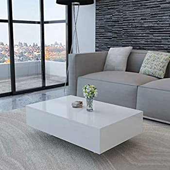 Canditree Modern Rectangular Coffee Table High Gloss White Coffee Table for Living Room Office 33.5  x 21.7  x 12.2
