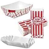 [125 Trays, 125 Bags, 125 Fluted Trays] - 2 lb Red White Paperboard Boat Basket, 1 oz Stri...