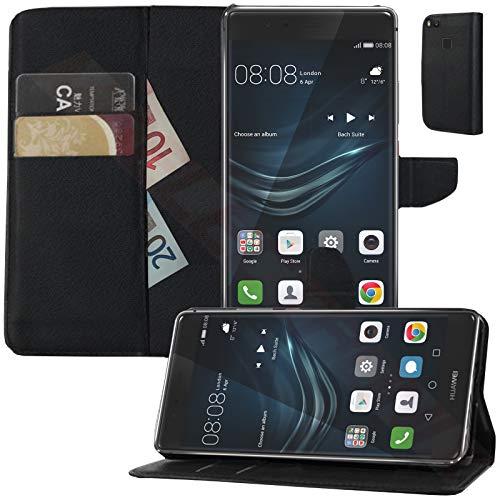 MOELECTRONIX Hülle passend für Huawei P9 Lite | Buch Tasche mit Karten & Notizfach | Flip Schutz Hülle Klapp Schutzhülle SCHWARZ
