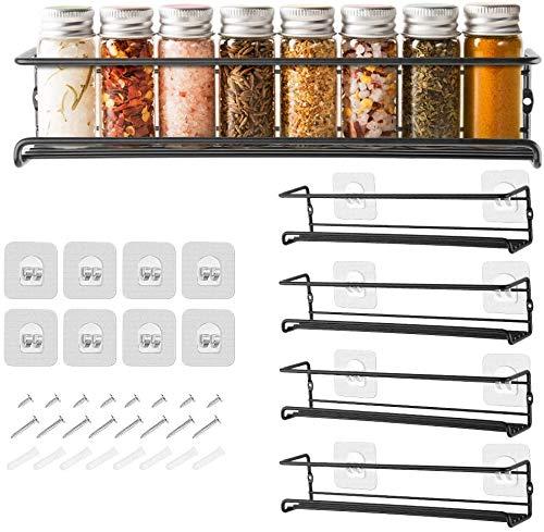 GEEDIAR Gewürzregal aus Metall - 4er hängend lang Küchenregal Gewürzregal selbstklebend ohne Bohren für die Wand, Küchenschrank, küchenschranktüren, Deco, Arbeitsplatte, 29 x 6.35 x 6cm, Schwarz
