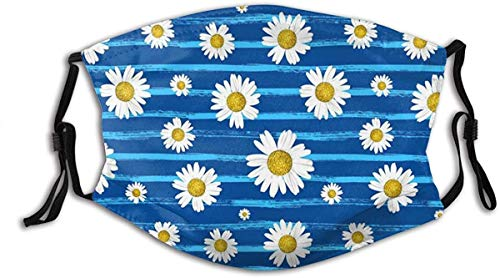 made in usa Beautiful White Daisies on Bright Background Washable Reusable Filter and Reusable Mouth Warm Windproof