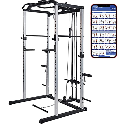 VANSWE Power Cage with LAT Pull Down Attachment, 1000-Pound Capacity Power Rack Full Home Gym Machine...