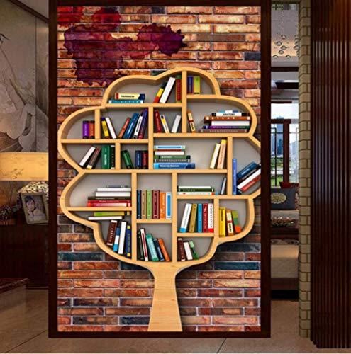Upinfan Benutzerdefinierte Fototapete 3D Stereo Backsteinmauer Bücherregal Bücherregal Kunst Baum Baum Modellierung Werkzeug Eingangstapete Wandbild120X100Cm