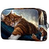 Bolsa de cosméticos para mujeres, adorables bolsas de maquillaje espaciosas para viajes, accesorios para regalos, gato de fantasía