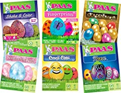 BUNDLE INCLUDES: 6 Paas Egg Decorating Kits - 1 each Fingerprints, Shimmering Pearl, Shake and Color, Golden Shimmer, Neon and Emoji FUN STYLING: Each decorating kit contains all the appropriate dye tablets, ink pads, stickers, magic crayons, dippers...