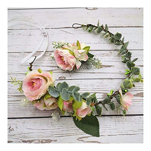 JINSUO Yiyuntian Accessori Headwear Camellia Corona Capelli delle Donne del Copricapo Floreale Ghirlanda di Cerimonia Nuziale Floreale Copricapo (Color : Cown And Hair Comb)