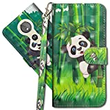 MRSTER Moto G6 Play Handytasche, Leder Schutzhülle Brieftasche Hülle Flip Hülle 3D Muster Cover mit Kartenfach Magnet Tasche Handyhüllen für Motorola Moto E5 / Moto G6 Play. YX 3D - Panda Bamboo