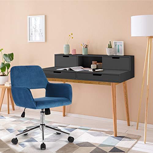Yata Home Bürostuhl Ergonomischer Schreibtischstuhl Drehstuhl Konferenzstuhl Besucherstuhl leicht Stuhl Samt Büro Sessel Bürohocker Drehhocker mit Armlehne Blau | Büro > Bürostühle und Sessel  | Sep Home