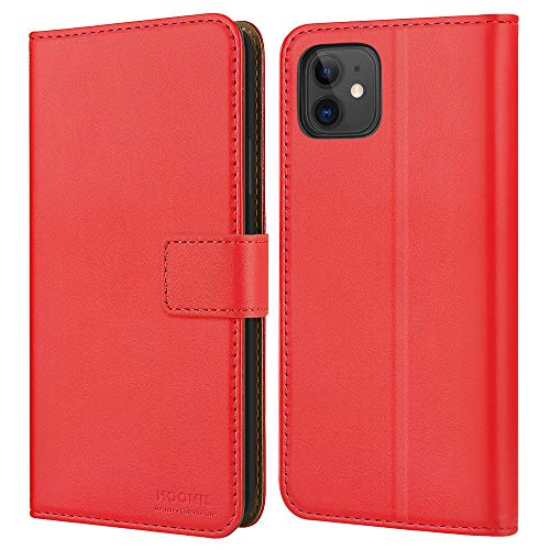 HOOMIL Handyhülle für iPhone 11 Hülle, [Kabelloses Laden] Premium Leder Flip Hülle Cover Schutzhülle für Apple iPhone 11 Tasche, Rot