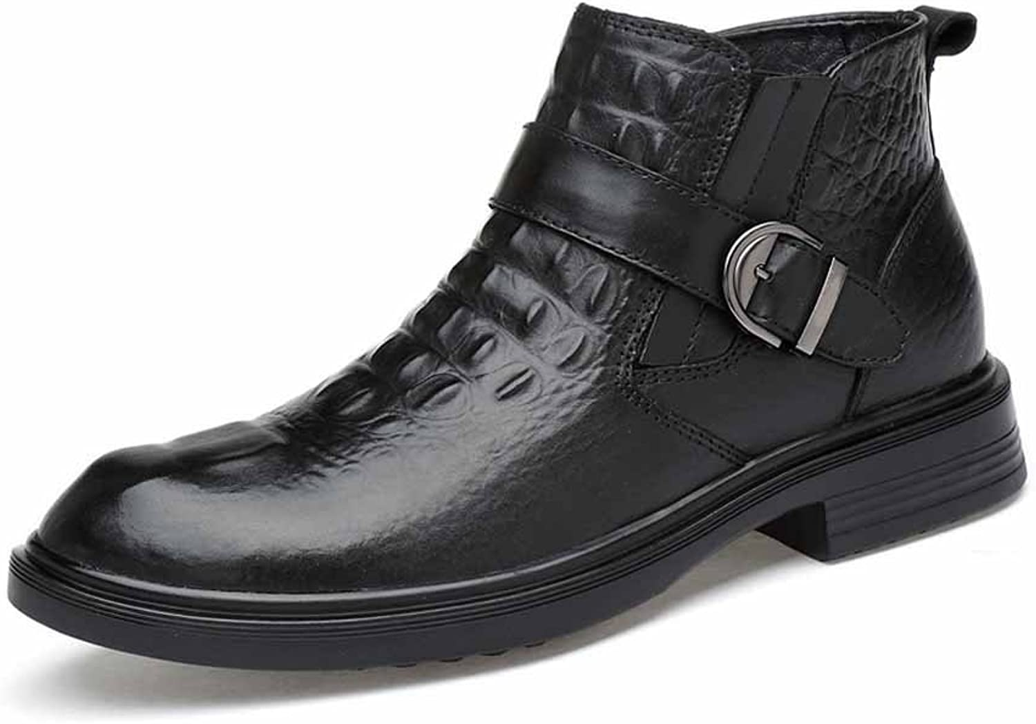 GLSHI Men Martin Boots Fashionable Buckle Ankle Boots British Leather Boots Black Large Size