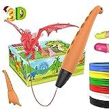 TECBOSS Lápiz 3D, Pluma 3D Dinosaurio,3D Pen, Juguete con Modo de Ssueño Seguro de 2 Velocidades, Niños y Niñas de 6/7/8/9/10 Años de Navidad,Cumpleaños y Festival Especial(Naranja)