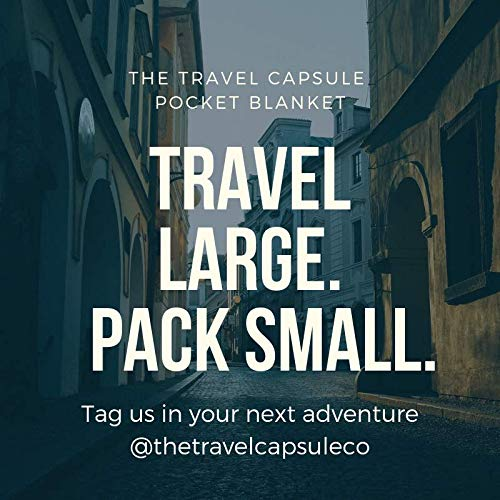 51QBOqYbGWL - Travel Capsule Large Outdoor Pocket Blanket 55″x70″ - Perfect for Hiking, Camping, Outdoor Sporting Events, picnics and More! Stakes and Carabiner Included. Perfect for Quarantine HANGOUTS!