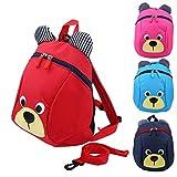 Zerodis Mochila para niños pequeños Mochila para niños anti-perdidos Mochilas escolares de jardín de infantes Cute Bear(Rojo)
