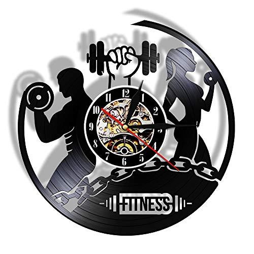 Fitness Vinyl Record Clock Sport Body Health Handgemaakte sport GYM Wall Art Bodybuilding Room Decor Halter Vintage LP Wandklok-Without_LED