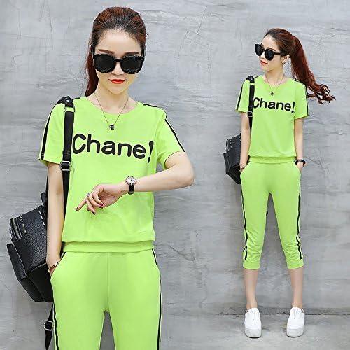 Qnqa femmes Fitness, Courir, Outdoor Vêtements, Sport pour fille en été, à hommeches courtes T shirt, gelegenheits Sept Points Pantalons, vêtements dans deux, S, Verte