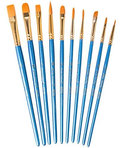 Hibery 20 Pcs Pointed - Round Paintbrush Set - Blue Round Pointed Tip Nylon Paint Brush Set, Art and Watercolor Brushes, Acrylic Paint Brushes, Oil Painting Supplies