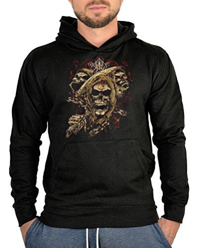 Kapuzen Pullover Totenkopf Motiv Gotik Style Hoodie Kapuzensweater : Skull -- bedruckter Hoodie...