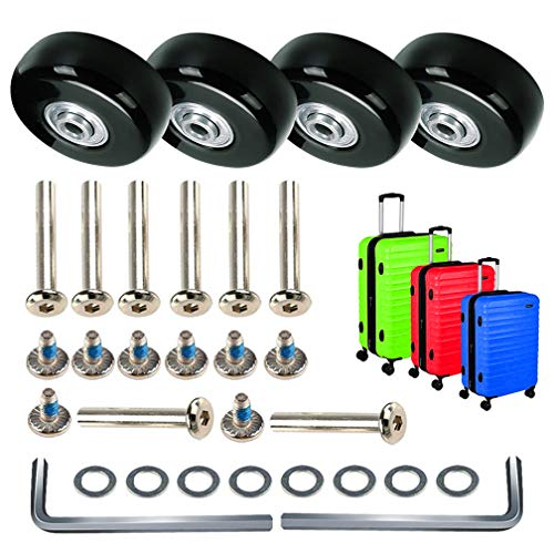 MOCOUM Luggage Suitcase Replacement Wheels, Mute Wear-Resistant Rubber Swivel Caster Wheels Repair Sets,Free Axles Wrench Deluxe Repair … (4pcs 43mm x 18mm)