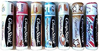 Chapstick 2017 Holiday Limited Edition Variety Bundle (7 sticks!) - Caramel Creme, Cinnamon, Cocoa, Cake Batter, Sugar Cookie, Pumpkin Pie & Candy Cane