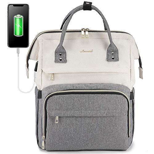 LOVEVOOK Rucksack Damen mit Laptopfach 17 Zoll, Laptop Rucksack wasserdicht, Schulrucksack Tasche mädchen mit USB Ladeanschluss, Beige Grau