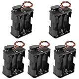 WMYCONGCONG 5 Pack 6 x 1.5V AA Battery Holder with Standard Snap Connector and Hard Plastic Housing T Type Wire (6AA)