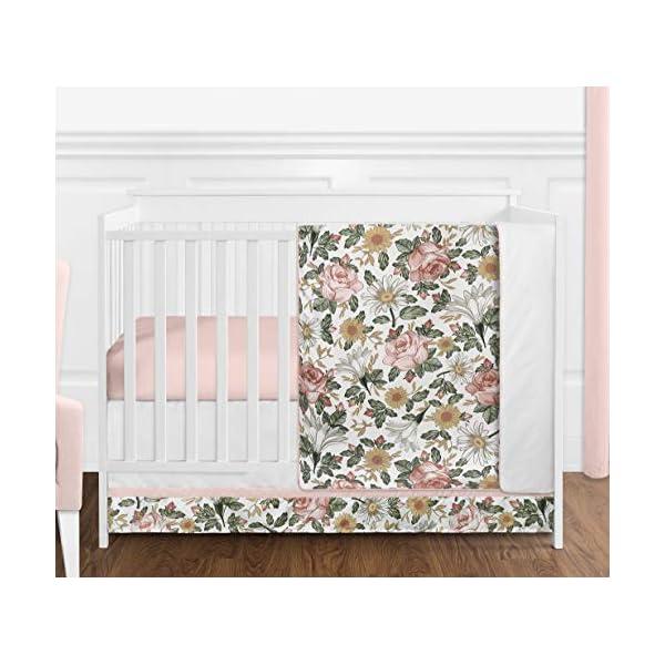 Sweet Jojo Designs Vintage Floral Boho Baby Girl Nursery Crib Bedding Set – 4 Pieces – Blush Pink, Yellow, Green and White Shabby Chic Rose Flower Farmhouse