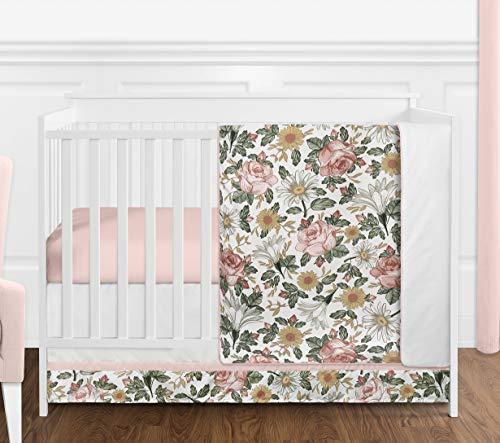 Sweet Jojo Designs Vintage Floral Boho Baby Girl Nursery Crib Bedding Set - 4 Pieces - Blush Pink, Yellow, Green and White Shabby Chic Rose Flower Farmhouse
