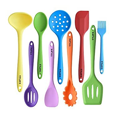 Silicone Utensils Kitchen Colorful 9 Pieces with Turner, Spatula, Soup Ladle,Brush,Long Handle Shovel,Long Spoon,Slotted Spoon,Shovel Spoon,Colander