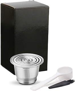 Classicoco Juego de cafetera, Máquina de café, Reutilizable, rellenable, Filtro de cápsula Reutilizable de café de Acero Inoxidable, Reutilizable, con Prensa de prensado, Juego de cafetera