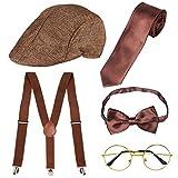 Haichen 1920er Jahre Herren Gatsby Gangster Kostüm Zubehör Set - Gatsby Newsboy Baskenmütze Hut...