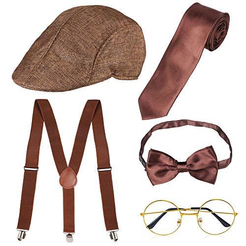 Haichen 1920er Jahre Herren Gatsby Gangster Kostüm Zubehör Set - Gatsby Newsboy Baskenmütze Hut Hosenträger Pre gebunden Fliege Brille Spielzeug gefälschte Zigarre (Kaffee)