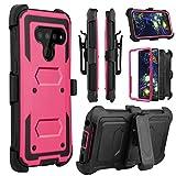 Venoro LG V50 Case, LG V50 ThinQ 5G Case, Heavy Duty Shockproof Full Body Protection Case Cover with Swivel Belt Clip and Kickstand for LG V50/LG V50 ThinQ/LG V50 ThinQ 5G (Pink)