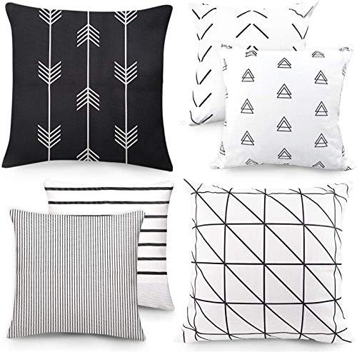 Outuxed Juego de 6 Fundas de Almohada Decorativas con patrón geométrico 45 x 45 cm para Oficina, sofá, decoración de algodón y Lino Fundas de cojín de la Serie Negro y Blanco