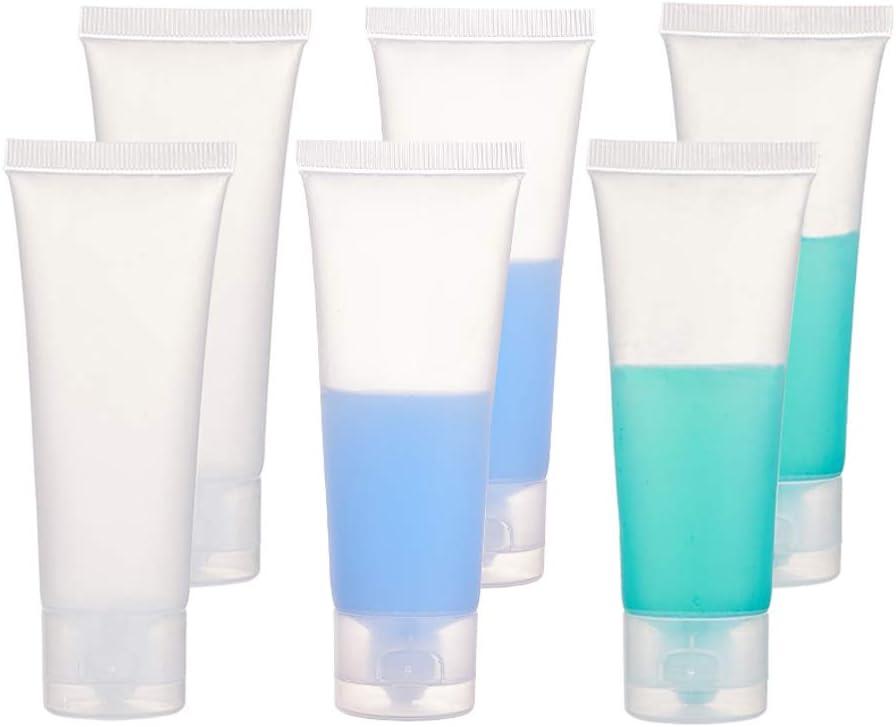 BENECREAT 30 Pack 50ml Botella Plástica de Viaje Tubo Suave Cosmético Transparente Tubo de Empaquetado de Crema Champú Loción con Tapa Volteada, Blanco