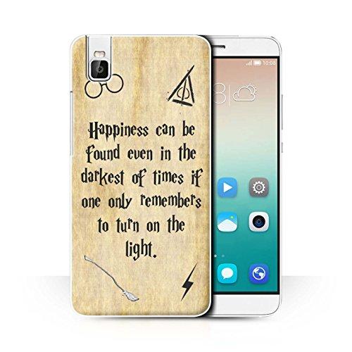 Hülle Für Huawei Honor 7i/ShotX Schule der Magie Film Zitate Happiness/Darkest Times Design Transparent Ultra Dünn Klar Hart Schutz Handyhülle Hülle