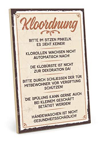 TypeStoff Holzschild mit Spruch – KLOORDNUNG – im Vintage-Erscheinungsbild mit Zitat als Geschenk & Dekoration (Größe: 19,5 x 28,2 cm)