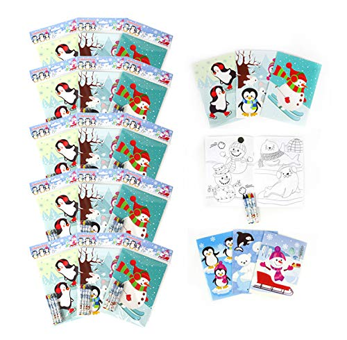 TINYMILLS Winter Snowman Penguins Coloring Book and Crayon Set for Kids Party Favors with 12 Coloring Books and 48 Crayons for Holiday Goody Bag Stuffers for Kids Gifts Carnival Prizes Classroom Gift