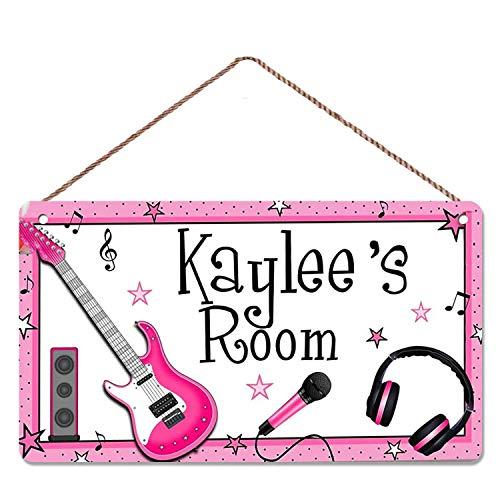 WEIMEILD Personalized Signs for Kids Room Music Room, Guitar, Headphones, speakerswall Art,Wall Art Door Sign,Nursery Art