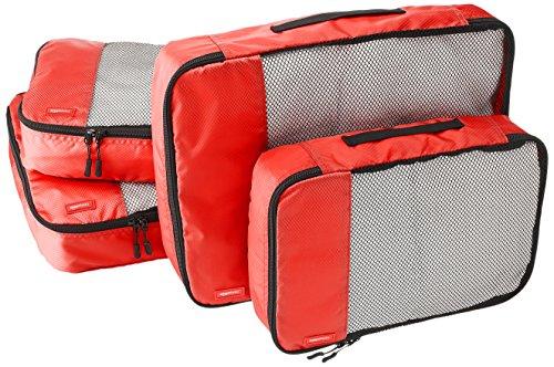 AmazonBasics - Bolsas de equipaje (2 medianas, 2 grandes; 4 unidades), Rojo