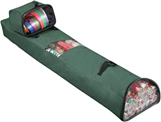 """Primode Hanging Gift Wrap Storage Bag with Detachable Accessory Tote   Heavy Duty Xmas Wrapping Paper Storage Solution Constructed Of Durable 600D Oxford (2 PC Gift Wrap Case Set) 48""""x 10""""x 5"""" (Green)"""