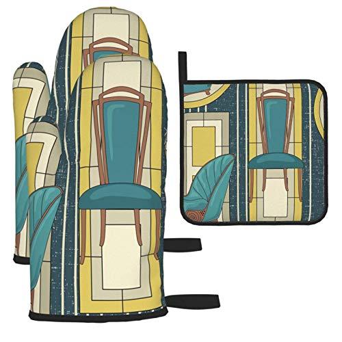 Venkiszo Art-Deco-Paneele und Stühle Blaugrün Hitzebeständige Ofenhandschuhe Küchenhandschuhe rutschfest Wiederverwendbar zum Kochen Grill Grill Mikrowelle 3-teiliges Set