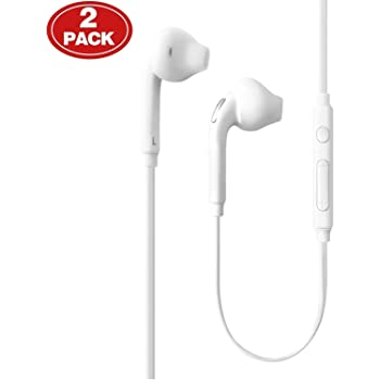 3.5mm Headphones, (2 Pack) Aux Wired in-Ear Earphones/Earbuds with Mic and Remote Control Compatible with Galaxy S10 S9 S8 S7 S6 Edge + Note9 8 7 6 5 and More Android Devices