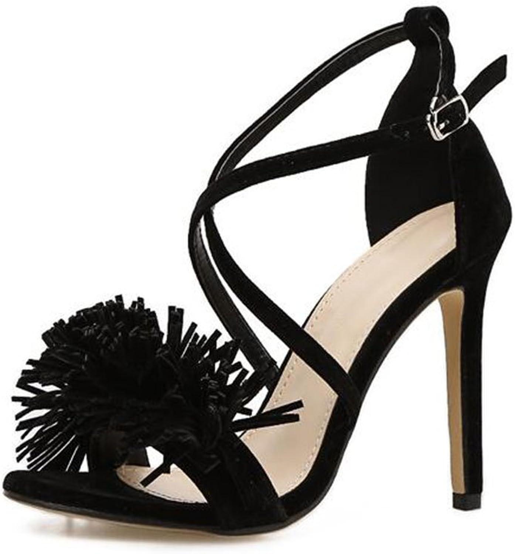 skor Europe och The United States Ladies Ladies Ladies skor sommar ny Open Toed Tassel Fine with Lace hög klacked skor Sandals  utlopp