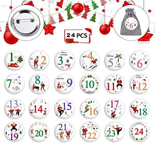 HIQE-FL Calendario de Navidad,Calendrier de l'avent, Numeros Navidad,Manualidades de Navidad,Navidad Decoración(24pcs) (A)