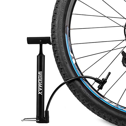 WEIDMAX Bike Pump, Portable Bicycle Floor Pump Mini Hand Air Pump with Foldable Handle Mountain Bike Tyre Pump Road Bike Tire Inflator with Inflation Needle Compatible with Presta & Schrader Valve…