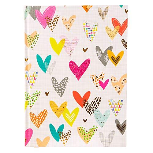 goldbuch 64227 Notizbuch DIN A5 Lots of Hearts im Turnowsky Design, Kladde mit 200 Creme Seiten, Papier blanko, mit Kunstdruckpapier Einband, Goldprägung und Lesezeichen, ca. 15 x 22 cm