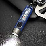 Alonefire S11 Small Powerful Mini Keychain LED Flashlight Tactical Portable Bright Pen Torch SST20 LED USB Rechargeable IP65 Waterproof Multi Function for Emergency with Built-in Battery(Blue)
