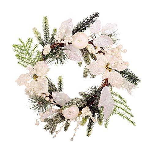 UEXCN Feliz Navidad coronas decoraciones para puerta delantera, guirnalda de Navidad, decoración artificial del hogar, bricolaje para Año Nuevo decorar el hogar