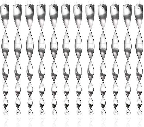 AIlysa 12 piezas Varillas Reflectantes Repelentes de Pájaros, Ahuyentador de Pájaros, Espiral Repelentes Plateada, Anti Palomas, para Control de Aves, Balcón Antipájaros Protejan Floresy Jardine